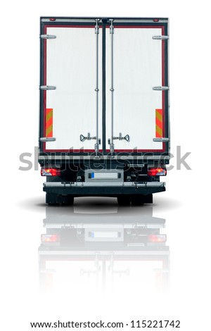 Truck trailer - back view with closed doors - stock photo