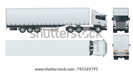 Truck trailer with container. Cargo delivering vehicle template isolated on white View front, rear, side, top. Car for the carriage of goods