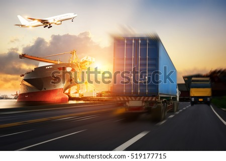 Truck transport container on the road to the port, Industrial Container Cargo freight ship for Logistic Import Export concept