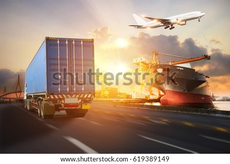 Truck transport container on the road to the port, Industrial Container Cargo freight ship for Logistics and transportation Import Export concept