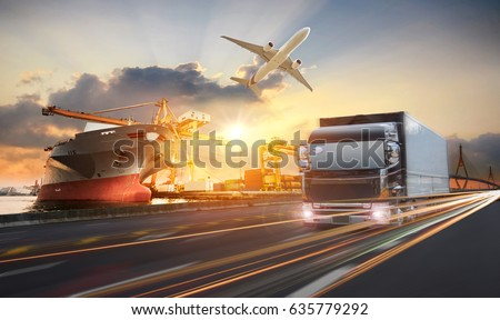 Truck transport container on the road to the port, Industrial Container Cargo freight ship for Logistic Import Export concept, logistic import export and transport industry background