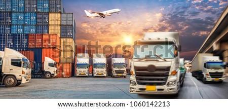 Truck transport container on the road to the port with Logistic transportation of Container Cargo ship and Cargo plane, Business Logistics transportation concept