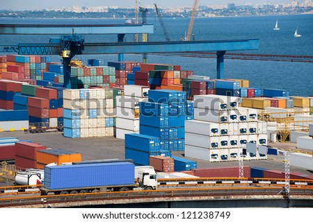 truck transport container to warehouse near the sea