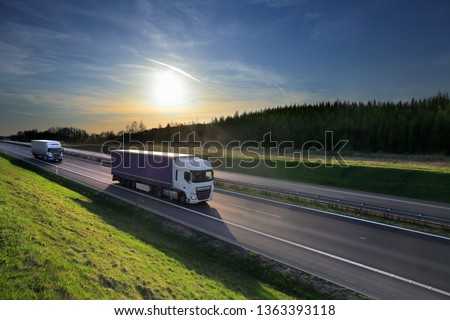 Truck transport on the road and cargo #1363393118