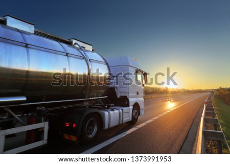 Truck transport on the road and cargo #1373991953