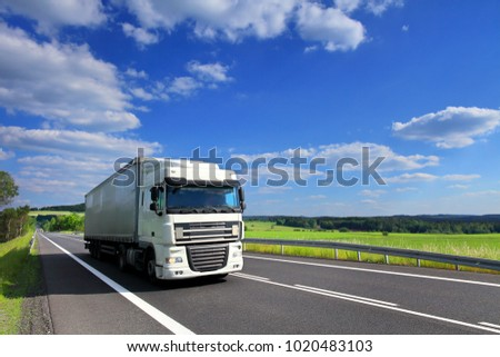 Truck transportation on the road stock photo