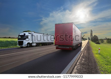Truck transportation on the road at sunset #1177999033