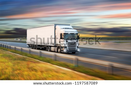Truck with container on highway, cargo transportation concept. Shaving effect. #1197587089