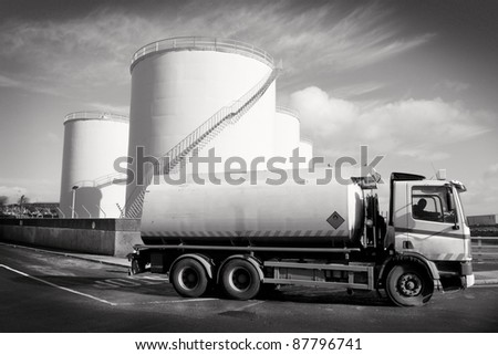 Truck With Fuel Tank  and industrial storage site