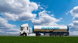Truck with hydrogen tank trailer. Concept