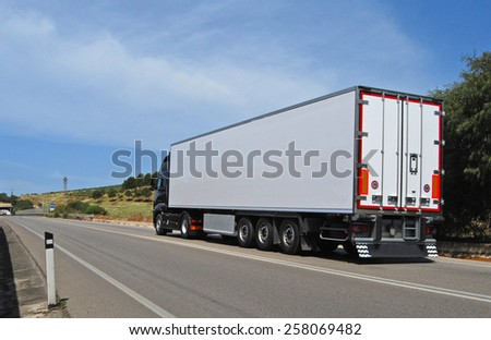 truck with long trailer, trucking and logistics  #258069482