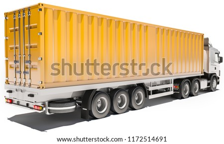 Truck with Orange Container on White Background 3d rendering