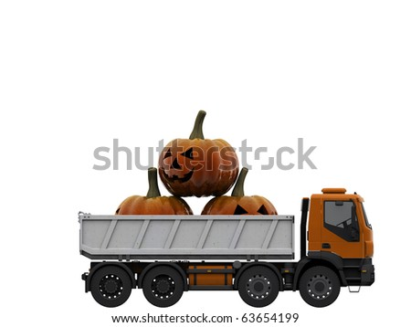 truck with pumpkins isolated on white