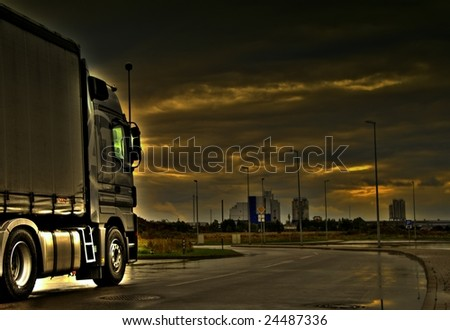 Trucking in storm #24487336