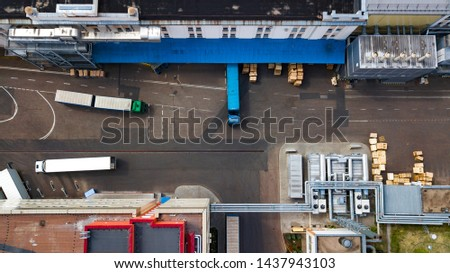 trucks are loaded at the factory top view #1437943103
