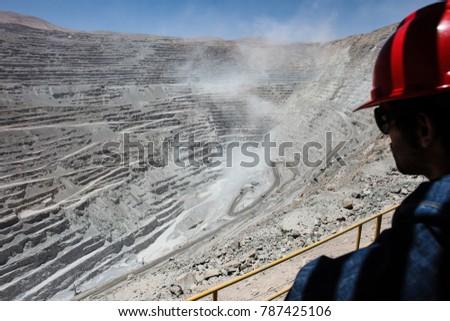 Trucks at Chuquicamata,  the world's biggest open pit copper mine in Calama, Chile