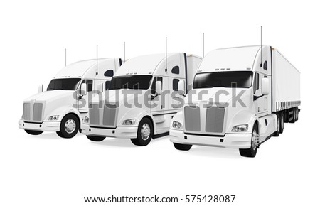 Trucks Fleet Isolated. 3D rendering #575428087