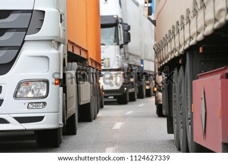 trucks in traffic jam
