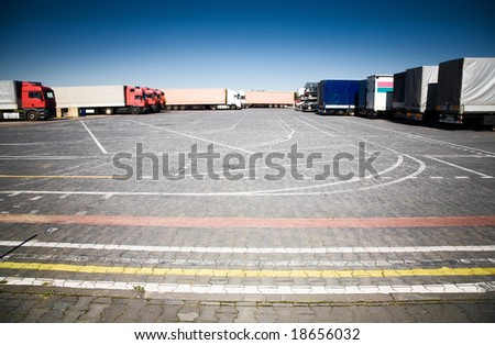 Trucks on a parking. Wide angle view. - stock photo