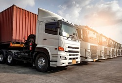 Trucks parked lined up, Road freight industry transport. Road freight industry cargo service, Logistics and transport