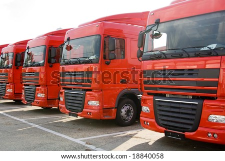 Trucks stand in line