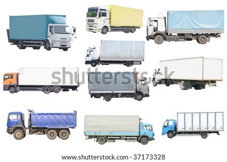 Trucks under the white background