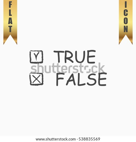 True False Icon Illustration. Flat simple icon on light background with gold ribbons
