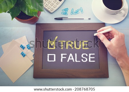 True or False check boxes with True checked, sketched on a little black chalkboard