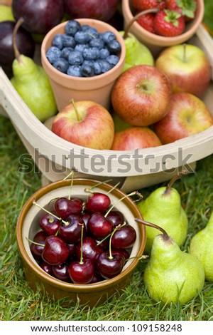 trug of harvested summer fruit including: blueberries, cherries, apples, pears, strawberries, plums