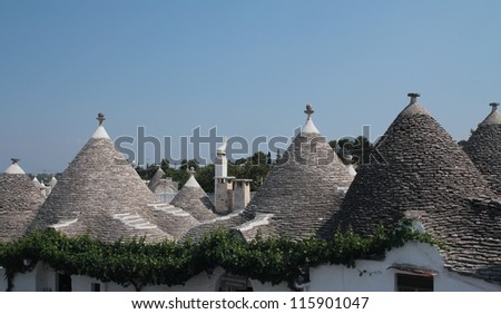 Trulli, a traditional apulian dry stone hut,  typical a specific part of the south of Italy