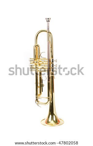 trumpet closeup isolated on a white background
