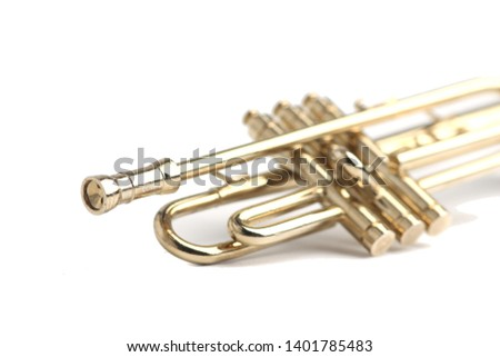 trumpet isolated on white background close up #1401785483