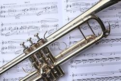 Trumpet on sheet music.