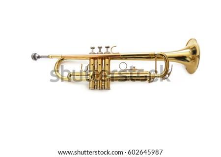 Trumpet on White Backdrop