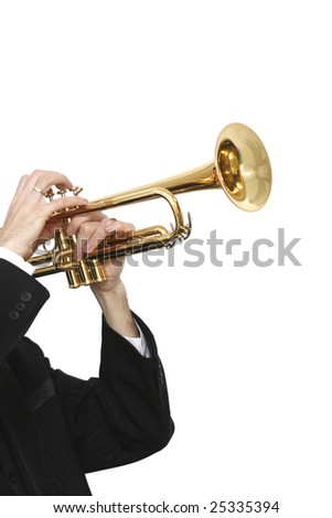 trumpet player in a luxury suit and his trumpet