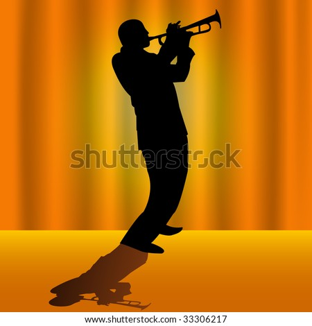 Trumpet player on stage.