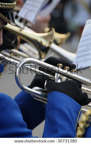 Trumpet players during a brass band parade