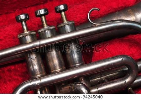 Trumpet valve in velvet box
