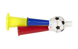 Trumpeter or horn toy football isolated on white background with clipping path.Concept cheer soccer for world cup 2018.