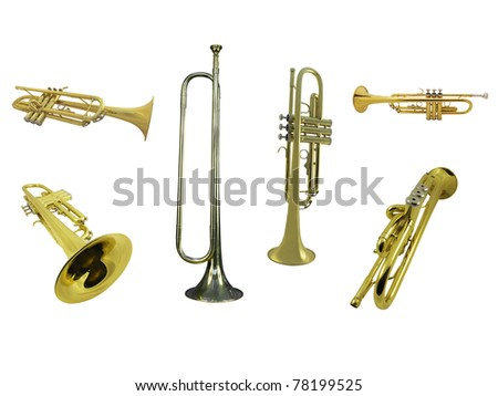 trumpets  under the white background