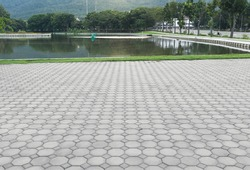 Truncated square tiling pattern of paver brick floor or block paving. Construction or lay on ground at outdoor use for road, street, pavement, sidewalk, floor, path, footpath, walkway and patio.