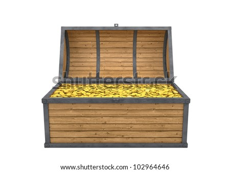Trunk full of gold isolated with clipping path