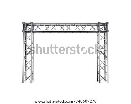 Truss construction. Isolated on white background. 3D rendering illustration. Front view.