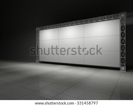 Truss stage on concrete floor B. 3D rendering #331458797