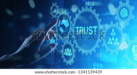 Trust customer relations reliability business concept. Pointing and pressing on virtual screen.