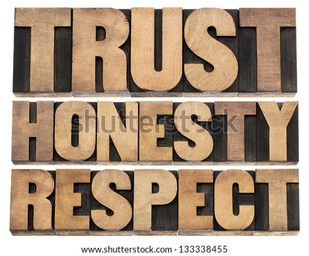 trust, honesty, respect - isolated words in vintage letterpress wood type printing blocks