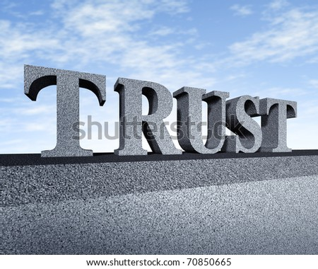 Trust honor core values business symbol stone text sculpture