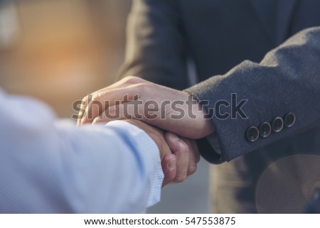 Trust Promise Concept. Honest Lawyer Partner with Professional Team make Law Business Agreement after Complete Deal. Ethics Business people handshake, touch and Respect customer to trust partnership.