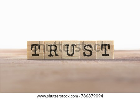 Trust Word Written In Wooden Cube #786879094