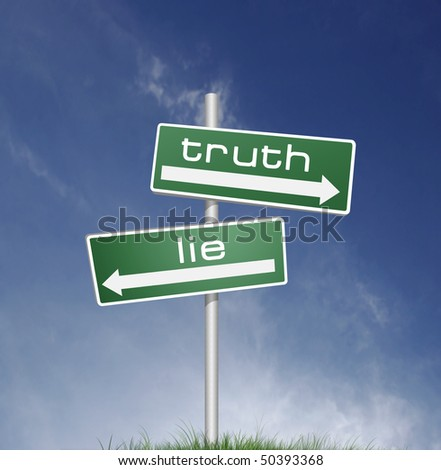 truth and lies direction board on blue sky background